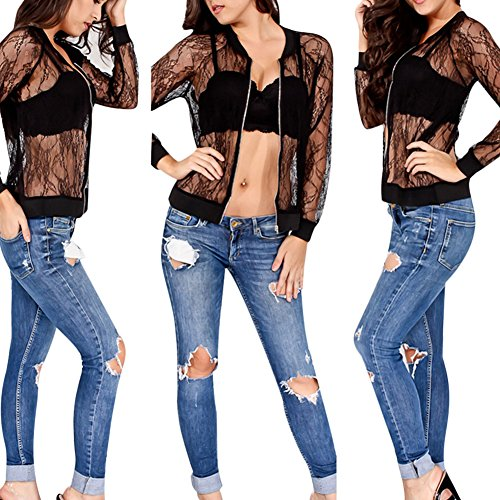 Women's Casual See Through Lace Patchwork Zip Up Bomber Jacket Short Coat Tops Black XL by Joseph Costume (Image #3)