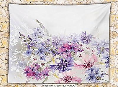 Lavender Fleece Throw Blanket Pink Purple Cornflowers Bridal Classic Design Gentle Floral Art Wedding Decorations Print Throw