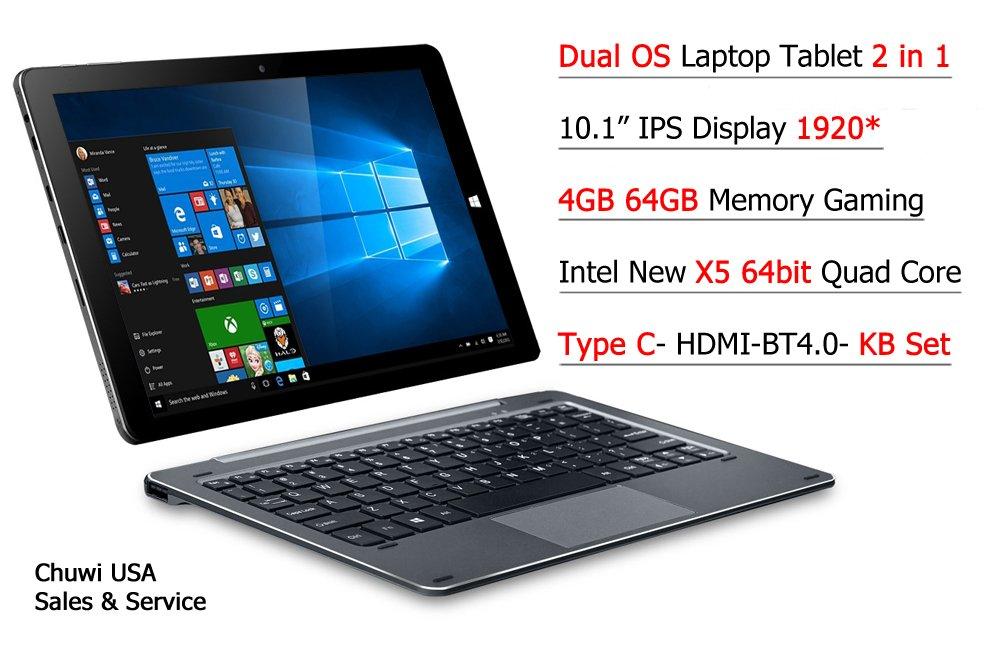 ChuwiUSA New Hi10 PRO 10.1'' FHD IPS Windows 10/Android 5.1 Dual Boot 2-in-1 Tablet PC Intel X5 Quad Core 4GB 64GB Bundle Detachable keyboard Docking by CHUWI (Image #1)