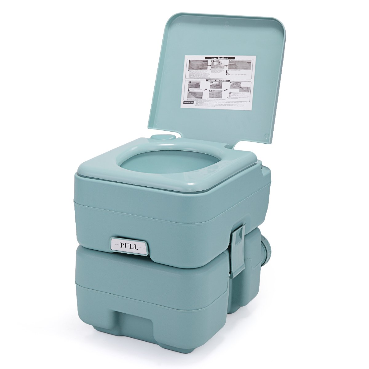 LAZYMOON Portable Toliet 5 Gallon 20L Outdoor Camping Toilet Potty, Green