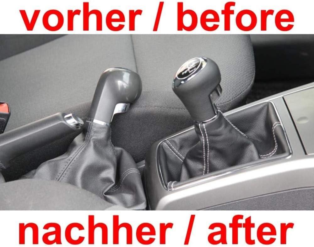 Original ICT Schaltknauf Schalthebel Schaltsack//Schaltmanschette Leder schwarz Naht silber 6 gang mit Rahmen Komplettset Ersatzteil Made in Germany Ohne LED