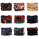 Headwear, Godspeed Headwrap 9-Pack Headband & Bandanna 16-in-1 Multifunctional Telescopic Seamless Scarf Facemask For Outdoor Leisure Activities (Bohemian Series)