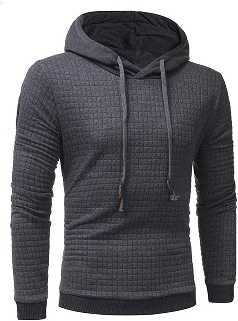 Cromoncent Mens Casual Solid Color Hooded Sport Fitness Pullover Sweatshirt