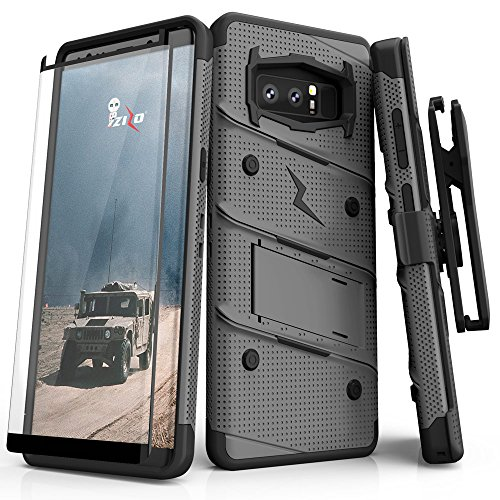 patible with Samsung Galaxy Note 8 Case Military Grade Drop Tested with Tempered Glass Screen Protector Holster Metal Gray Black ()