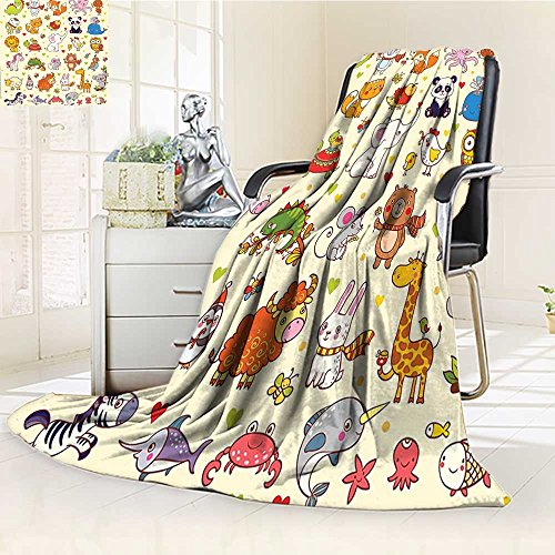YOYI-HOME Digital Printing Duplex Printed Blanket Kids Decor Fox Elephant Chicken Birds Mouse Nursery Children Room Decor Multicolor Summer Quilt Comforter /W31.5 x H47