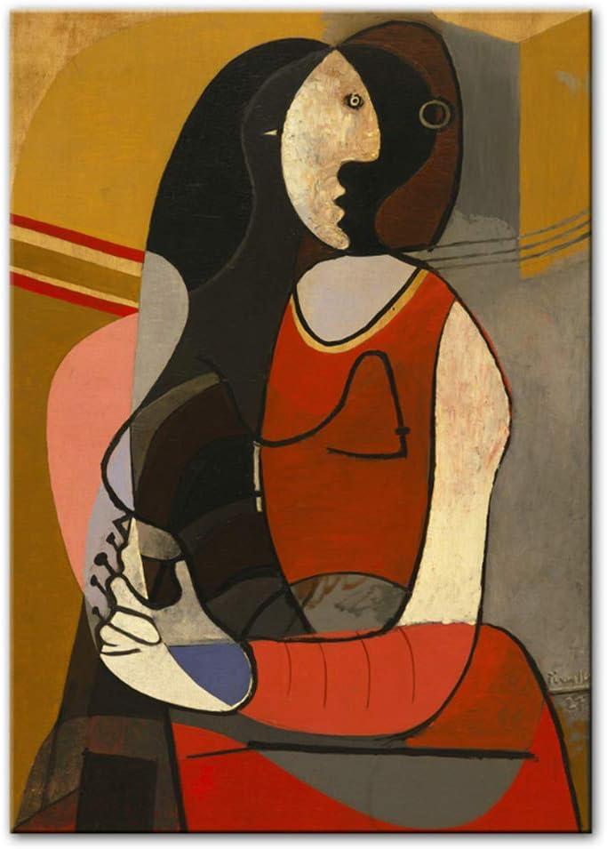 NIEMENGZHEN Impresión en Lienzo Mujer sentada Pinturas en Lienzo Reproducciones Impresiones de Arte Famosas Cuadros Abstractos Decoración de la Pared del hogar 15,7