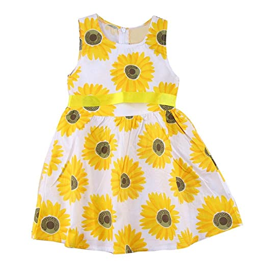 688bb9c5396d8 JPOQW Toddler Girl Sunflower Dress Summer Little Girls Birthday Party Beach  Dress 3-7T (