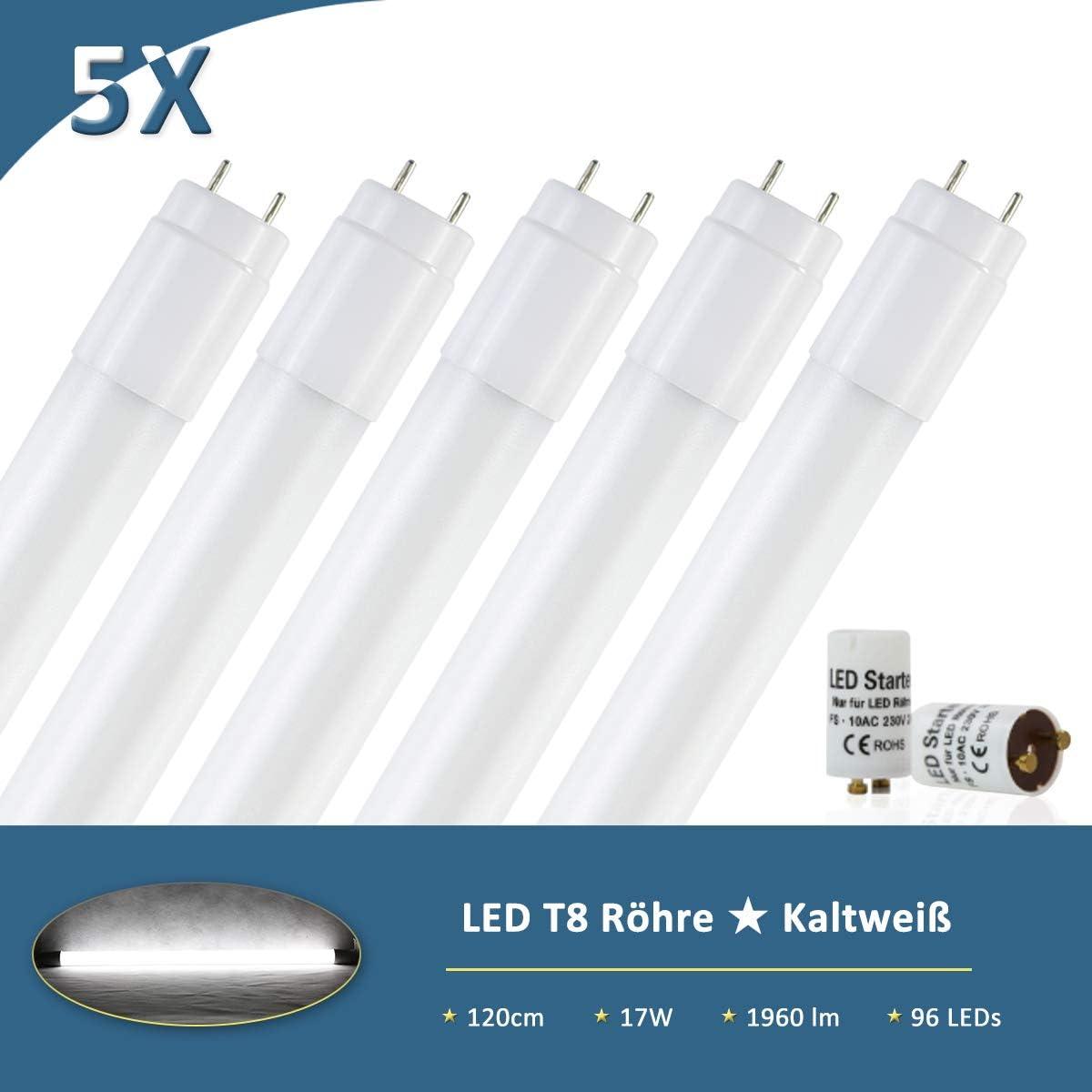 Ersatz f/ür T8 Rasterleuchte B/ürolampe Deckenleuchte inkl 270/° Abstrahlwinkel 1960lm LED Leuchtstoffr/öhre 120cm Tageslicht Neutralwei/ß 4000K 17W Starter Neonr/öhre 36 Watt