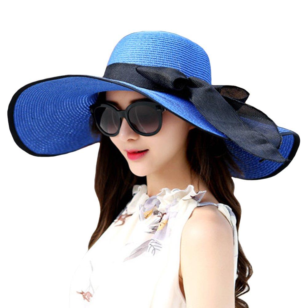 40d2d9693cd Itopfox Womens Big Bowknot Straw Hat Floppy Roll up Beach Cap Big Brim Sun  Hat Jewelry Blue