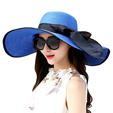 3deda18b Itopfox Women's Big Bowknot Straw Hat Floppy Roll up Beach Cap Big Brim Sun  Hat Jewelry