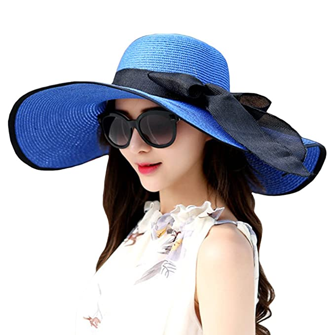 e400e918 Itopfox Womens Big Bowknot Straw Hat Floppy Roll up Beach Cap Big Brim Sun  Hat Jewelry