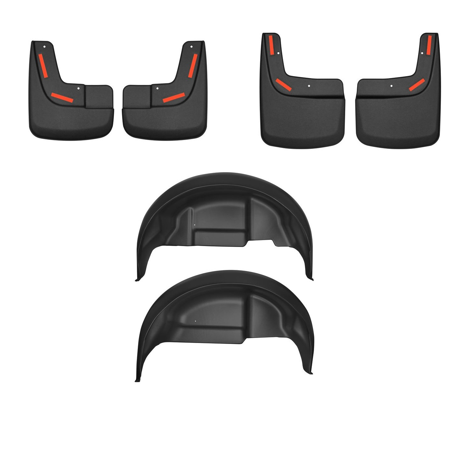 HUSKYLINERS 58491/59491/79141 Front Rear Wheel Mud Guards w/Rear Wheel Well Guards for 17-18 Ford F-150 Raptor