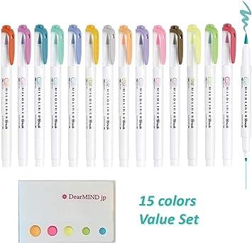 Zebra Mildliner BRUSH highlighter 15 marker set