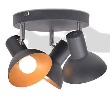 Lámpara de Techo Negro y Dorado,para 3 Bombillas,Lámparas ...