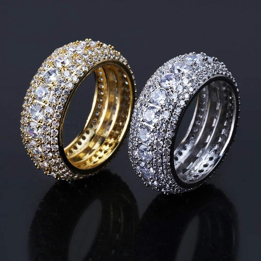 Wfhome 5 Row 10mm Vergoldet Bling Iced Out CZ K/önigliche Simulierte Diamant Ewigkeit Hochzeit Verlobungsband Ring f/ür M/änner Hip Hop