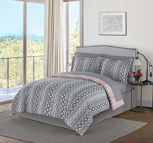Style Domain OZR02TCCKGRY Brenda 8Piece Bed-in-a-Bag Comforter Set, King, Gray, King 102