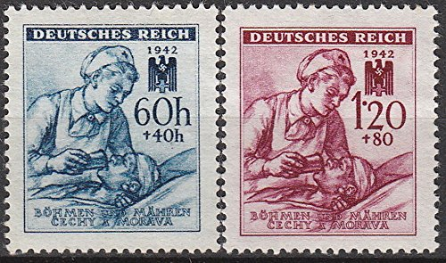 Bohemia and Moravia Scott #B-13 and B-14 (B13-4) - Two Stamp Red Cross Semi-Postal Issue With Nurse Tending Patient - From 1942 - Collectible Postage Stamps