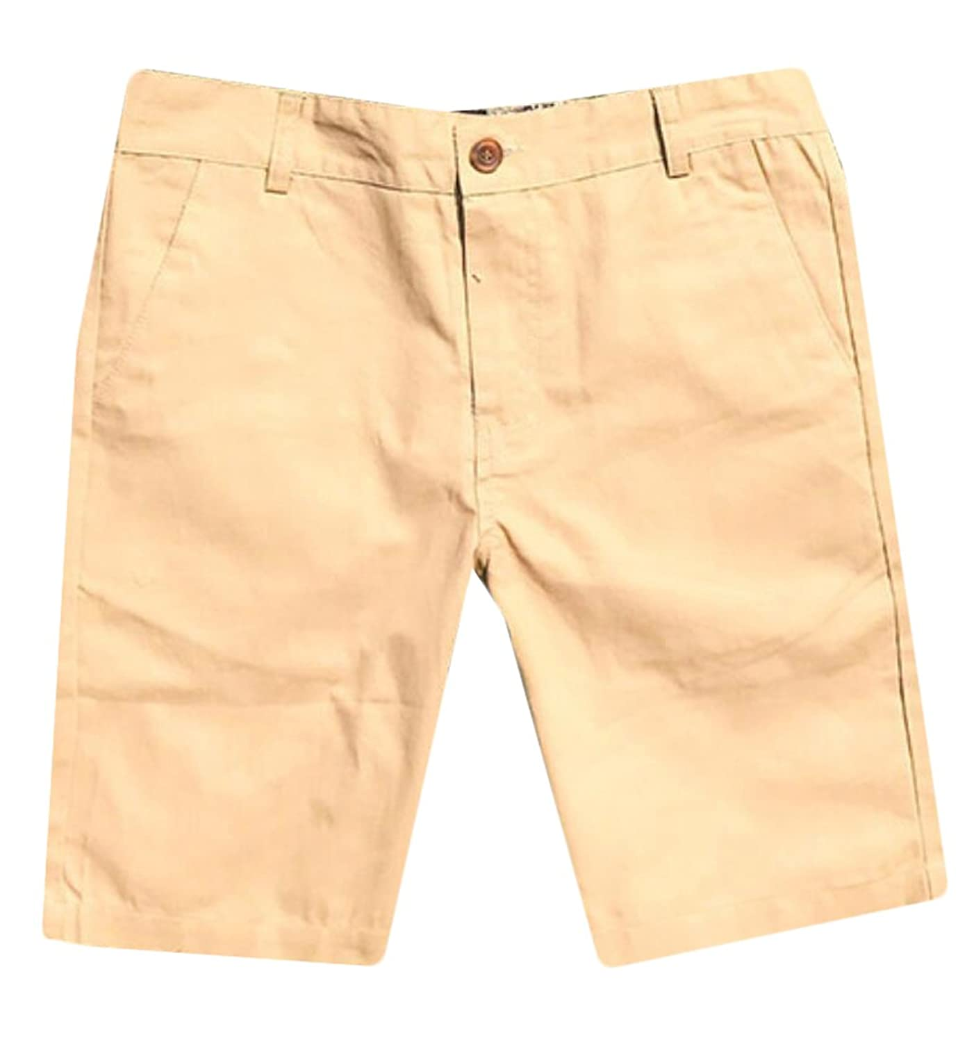 Zago Mens Solid Color Slim Fit Twil Flat-Front Chino Shorts