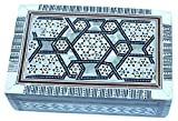 Decorative box - wooden inlaid with Mother of Pearls decorations - rectangular - by Holy Land Market (6.5 x 4.2 x 2 inches)