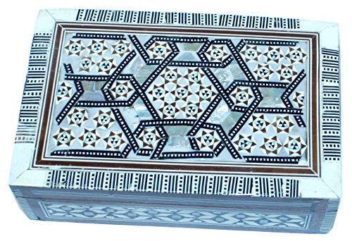 Decorative box - wooden inlaid with Mother of Pearls decorations - rectangular - by Holy Land Market (6.5 x 4.2 x 2 inches) by Holy Land Market