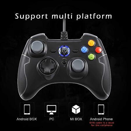 quatre boutons programmables pour PC turbo EasySMX Manette filaire Android TV tablettes contr/ôleur de jeu gamepad LED r/églable avec vibrations TV Box
