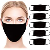 Simply Genius (5 Pack) Black Cloth Face Masks, Washable, 3-Ply Cotton For Adults
