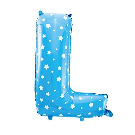 Cotigo-Globo Letra Foil Color Azul con Estrellas para Fiestas de Cumpleaños 40cm (L