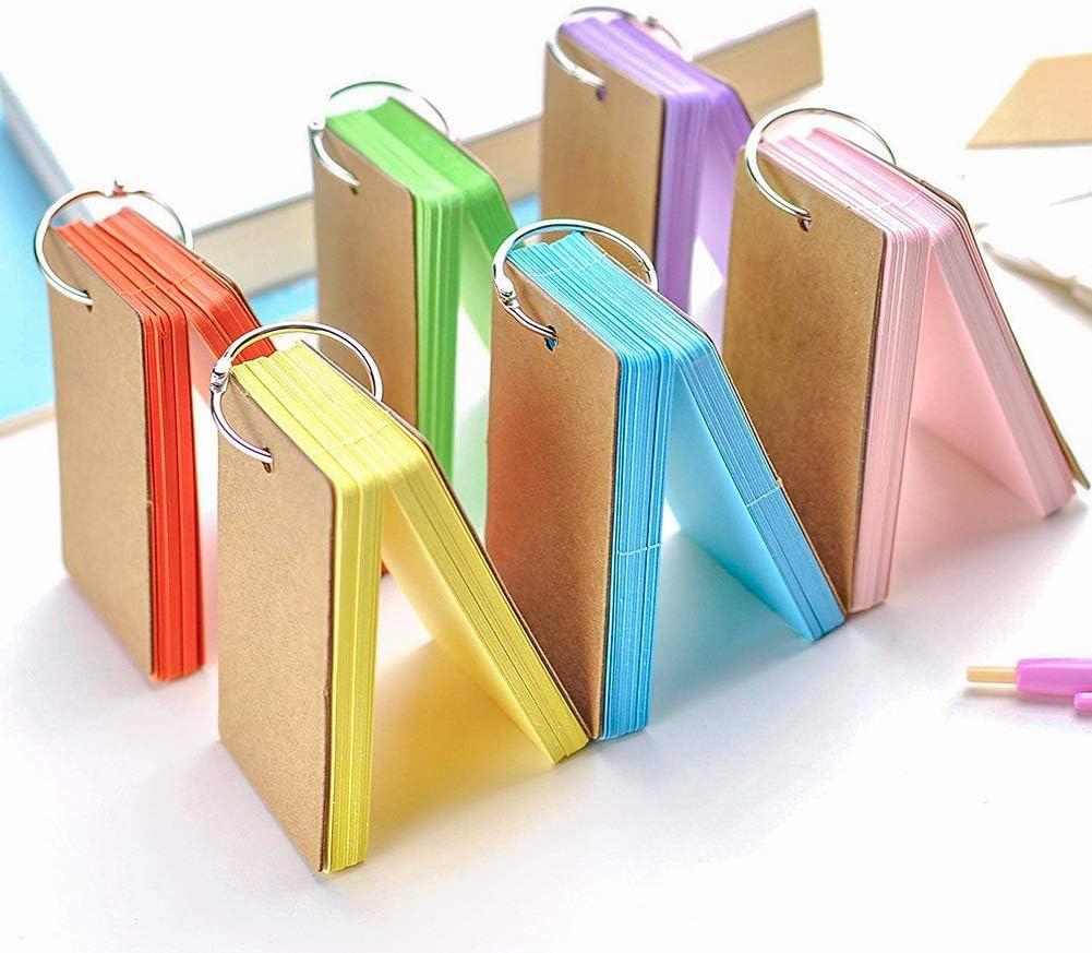Graffi per Appunti In Carta Kraft per Segnalibri di Cancelleria Fai Da Te Mentre Si Lavora e Si Studia (6 Colori) 300PCS Studio Cards Flip Flash Cards Con Raccoglitore Blank Cards