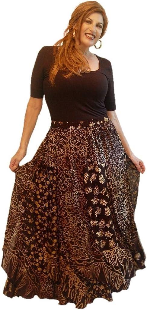 LOTUSTRADERS NEW Max 89% OFF Skirt Maxi Batik Patchwork Elastic Waist Layered K9