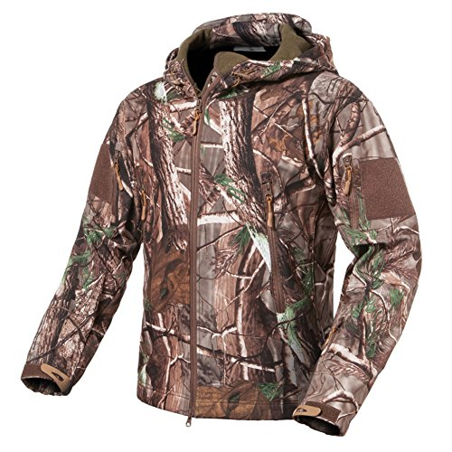 ReFire Gear Men's Soft Shell Military Tactical Jacket Outdoor Camouflage Hunting Fleece Hooded (Camo Coat)
