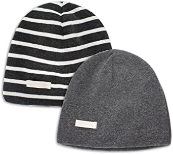 LACOFIA 2 Piezas Gorro Beanie para bebé Sombreros de Punto Calientes para bebés niñas y niños Gorra de algodón 100% súper Suave para Invierno/otoño