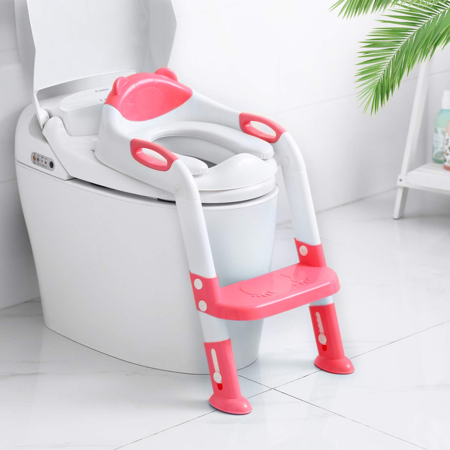 Victostar Potty Training Seat with Step Stool Ladder Foldable Potty Training Toilet for Kids Boys Girls Toddlers-Comfortable Cushion Safe Handle Anti-Slip Pads