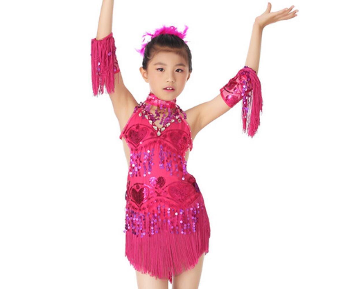 Rose rouge XL Costume de Danse de Danse Latine Enfants Robe de Danse Latine Su Liu Jupe de Danse Latine Blanc Jaune   Rose Rouge Rouge   Bleu