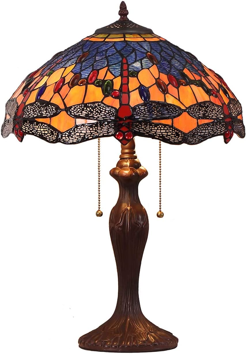Bieye L10690 Dragonfly Tiffany Style Stained Glass Table Lamp with 16 Inch Wide Complex Design Lampshade and Metal Base, Orange Blue, 16 W x 24 H