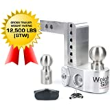 """Weigh Safe WS6-2-BA 6"""" Drop Hitch, 2"""" Receiver 12,500 LBS GTW - Adjustable Aluminum Trailer Hitch Ball Mount w/Built-in Scale"""