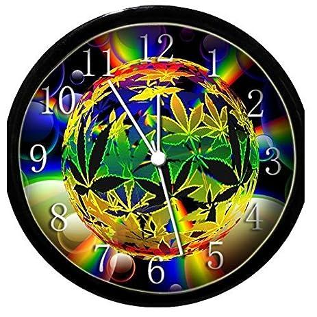 Amazoncom Glow In the Dark Wall Clock Trippy Marijuana Weed