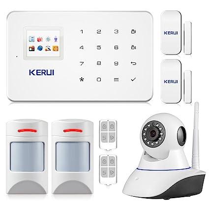 Kerui G18 - Set de alarma particular, inalámbrica, incluye cámara IP WiFi y detector de movimiento compatible con mascotas: Amazon.es: Bricolaje y ...