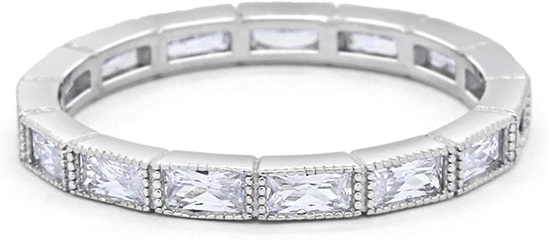Blue Apple Co. 3mm Art Deco Baguette Full Eternity Wedding Band Ring 925 Sterling Silver