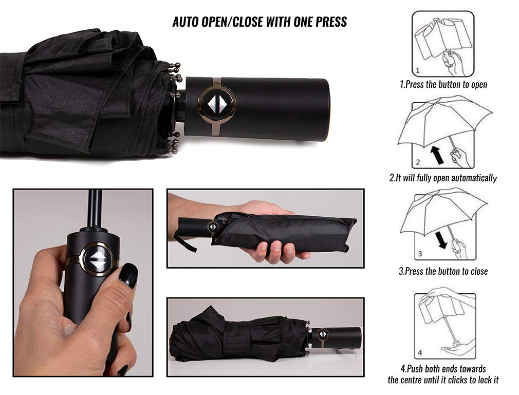 Compact Umbrella Windproof Wind Resistant Travel with Auto Open//Close ButtonBlack