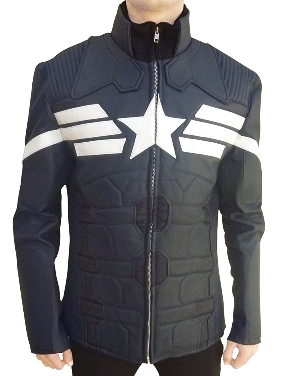 Captain America: The Winter Soldier Men's Genuine Leather Coat - DeluxeAdultCostumes.com