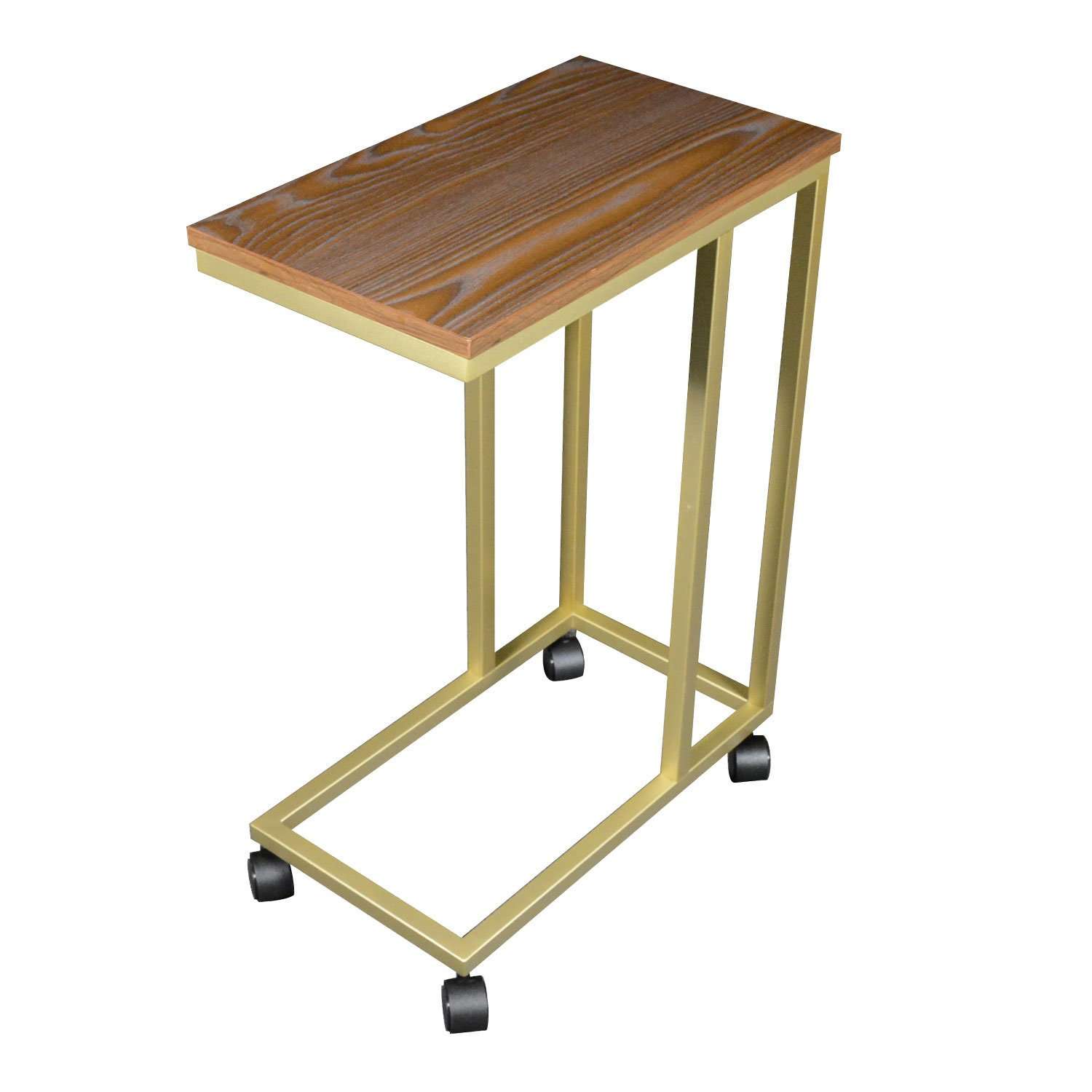 The Stephanie C Table/End Table/Laptop Stand, Oak Wood Finish Top w/Champagne Gold Base and Casters