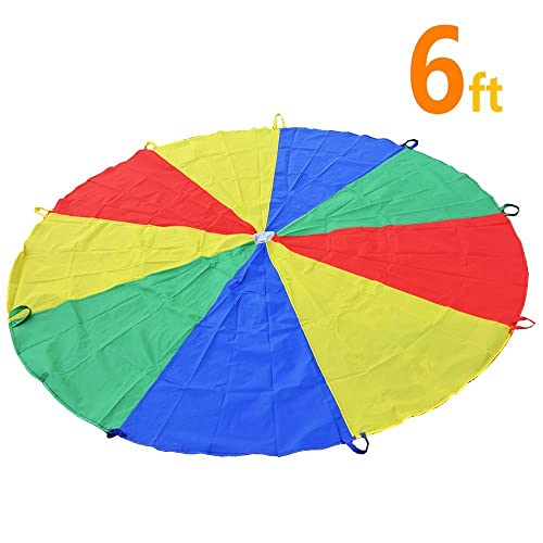 Sonyabecca Play Tents Kids Game 210T Play Parachute 6' with 9 Handles Indoor&Outdoor
