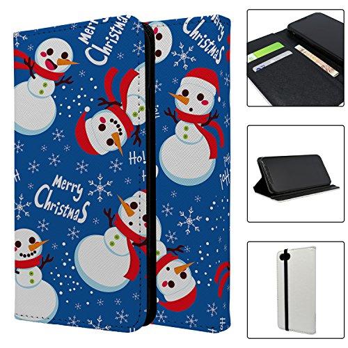 Schneemann Weihnachten Muster Full Flip Case Schutzhülle für für Apple iPhone 7–S5079 o2IE1