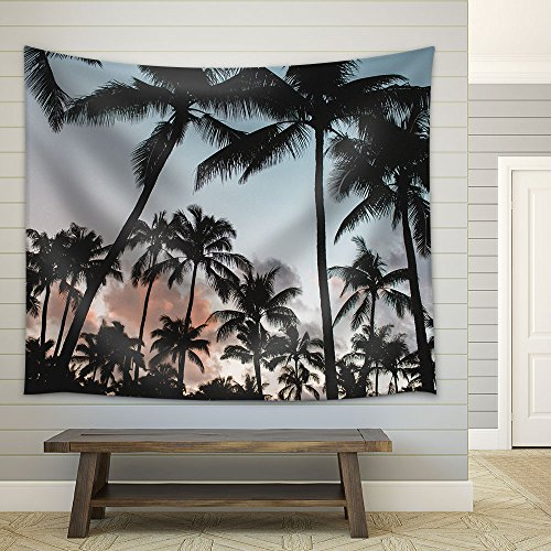 Palm Trees at Dusk Fabric Wall