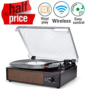 Amazon.com: Tocadiscos inalámbrico portátil LP con altavoces ...
