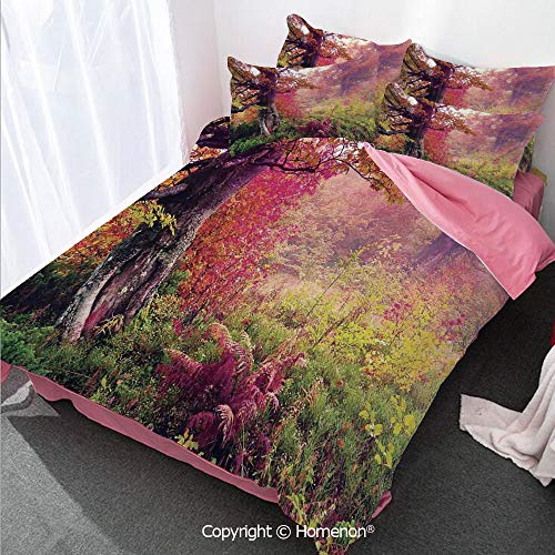 Farm House Decor Duvet Cover Set King Size,Fairy Majestic Landscape with Autumn Trees in Forest Natural,Decorative 3 Piece Bedding Set with 2 Pillow Shams Red Green - Majestic Set Necklace