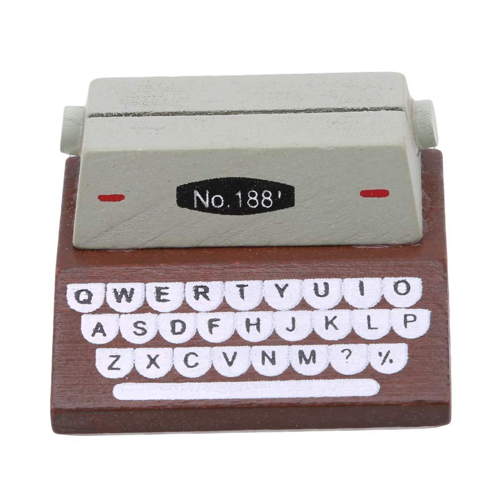 EH-LIFE Wooden Typewriter Vintage Wood Photo Card Message Memo Card Folder Office School Supplies Brown