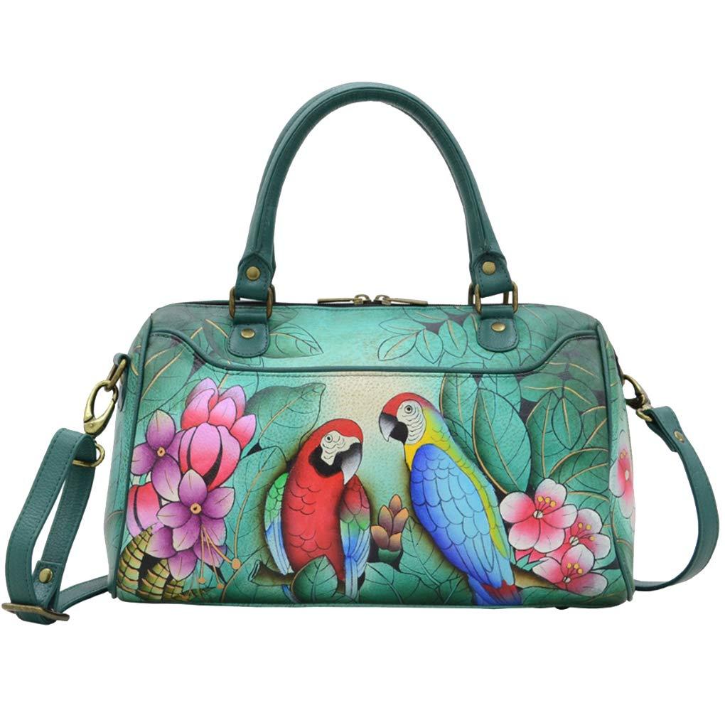 Anna by Anuschka Leather Medium Rounded Satchel Handbag - Purse Holder Bundle (Brazilian Beauties)