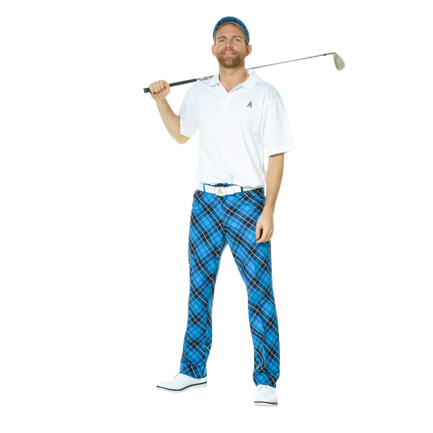 Royal Awesome Blue /& Plaid Trews-Pantaloni da Uomo