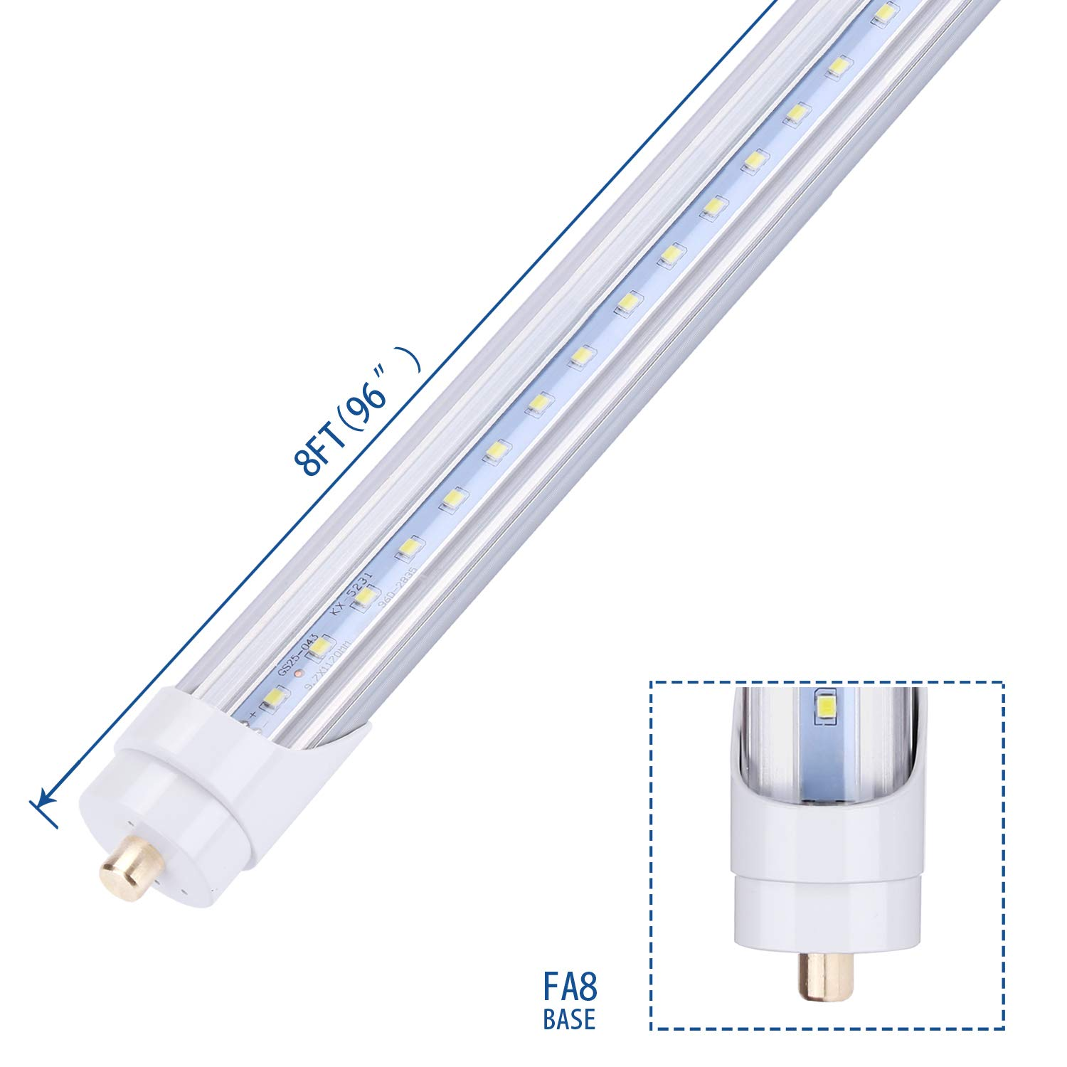 JOMITOP LED Tube Light 8FT,T8 Light Bulb 45W,Single Pin FA8 Base Led Shop Lights 100W Fluorescent Lamp Replacement Dual-Ended Power, Cold White 6000K, 5400LM, Clear Cover, AC 85-277V 12 Pack by Jomitop (Image #3)